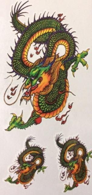 verkoop - attributen - Kamping Kitch & Bal Marginal - Tattoo 3 chinese draken groen