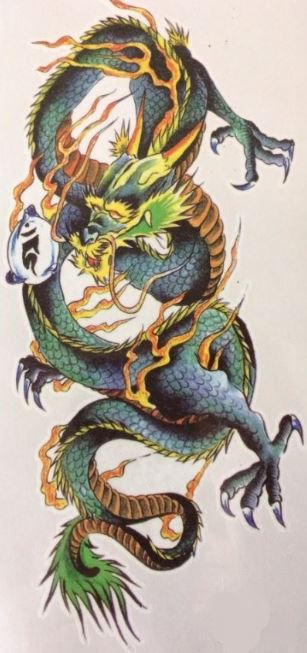 Tattoo chinese draak groot - Bal marginaal, kamping kitsch, tattoo