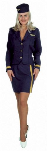 verhuur - carnaval - Uniform - airhostess navy
